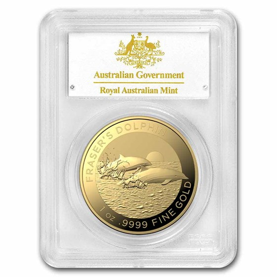 2021 AUS 1 oz Gold Fraser's Dolphin MS-70 PCGS (First Day)