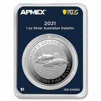 2021 AUS 1 oz Silver $1 Dolphin (MintDirect® Premier + PCGS)