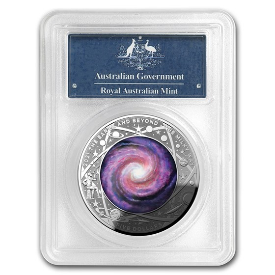 2021 AUS 1 oz Silver $5 Domed Milky Way PR-70 PCGS (First Day)