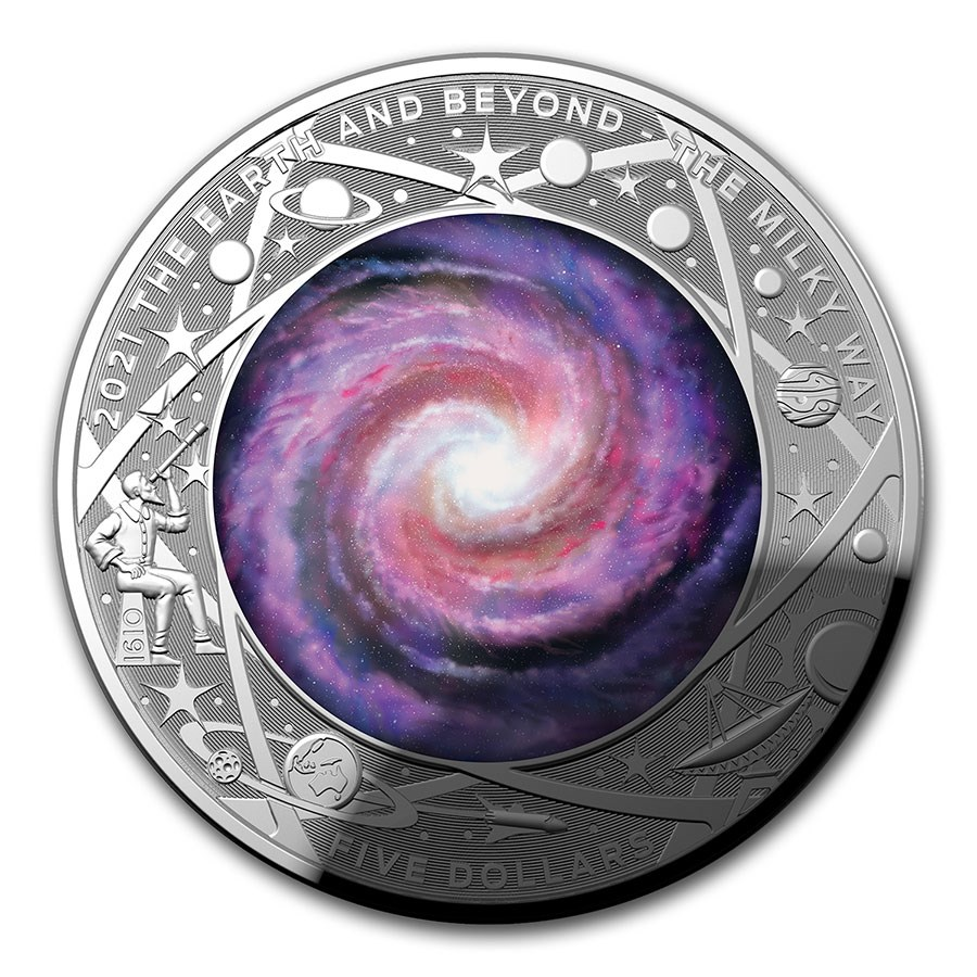 2021 AUS 1 oz Silver $5 Domed The Milky Way Proof (w/Box & COA)