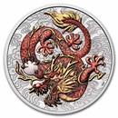 2021 AUS 1 oz Silver Dragon Colorized BU (Display Card)