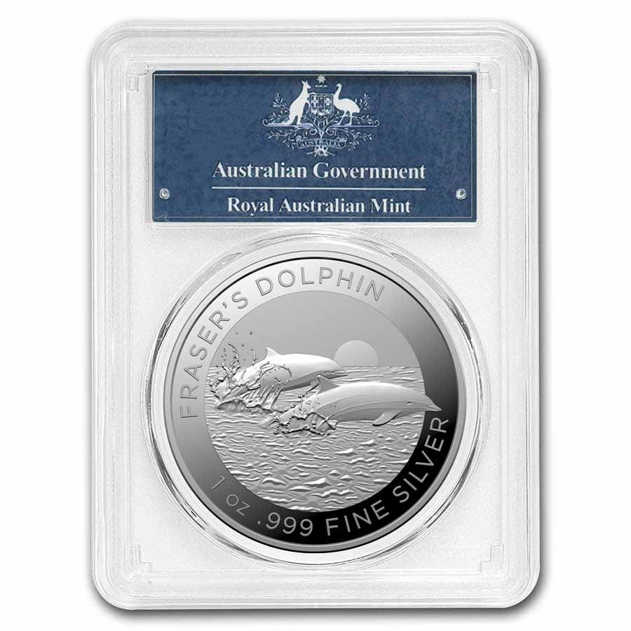 2021 AUS 1 oz Silver Fraser's Dolphin MS-70 PCGS (FirstStrike®)