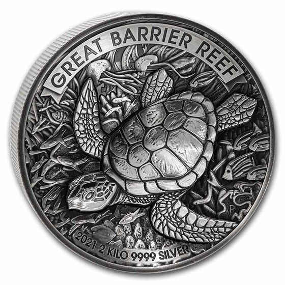 2021 AUS 2 kilo Silver Antiqued Great Barrier Reef Proof (HR)