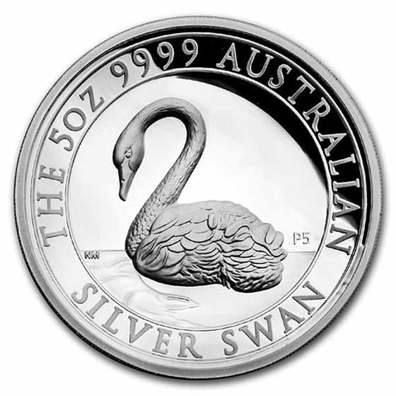 2021 AUS 5 oz Silver Swan Proof COA #2 (High Relief, w/Box & COA)