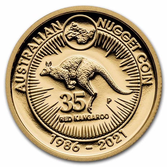 2021 AUS Gold 1/4 oz 35th Anniv Australian Kangaroo Nugget Proof