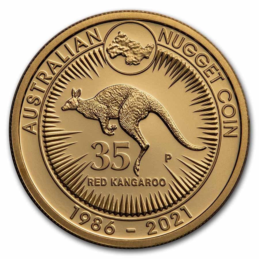 2021 AUS Gold 1 oz 35th Anniv Australian Kangaroo Nugget Proof
