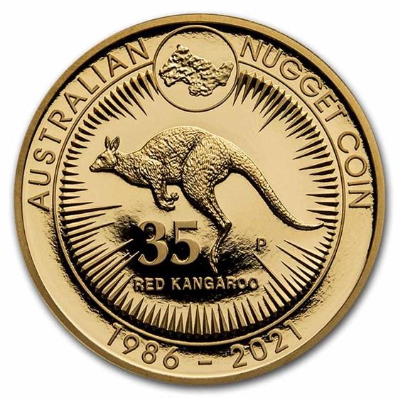 2021 AUS Gold 2 oz 35th Anniv Australian Kangaroo Nugget Proof