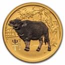 2021 Australia 1/10 oz Gold Lunar Ox BU (Series III, Colorized)