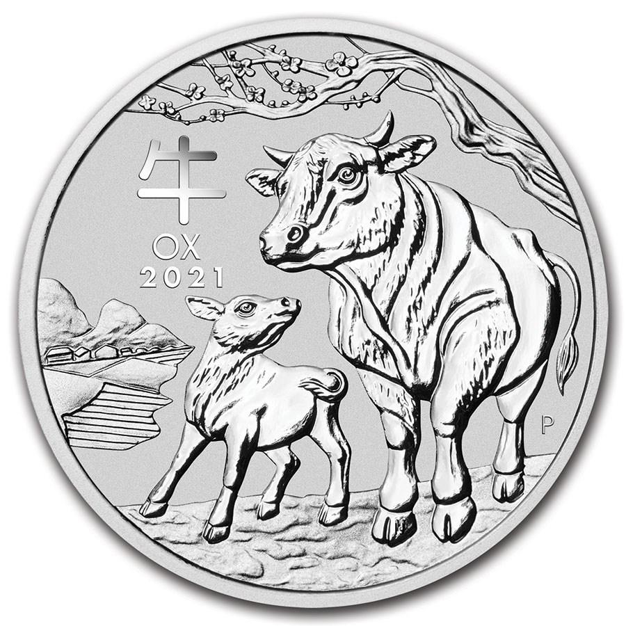 2021 Australia 1/2 oz Silver Lunar Ox BU (Series III)
