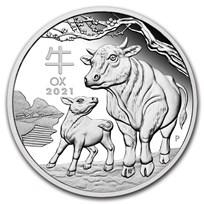 2021 Australia 1/2 oz Silver Lunar Ox Proof (w/Box & COA)