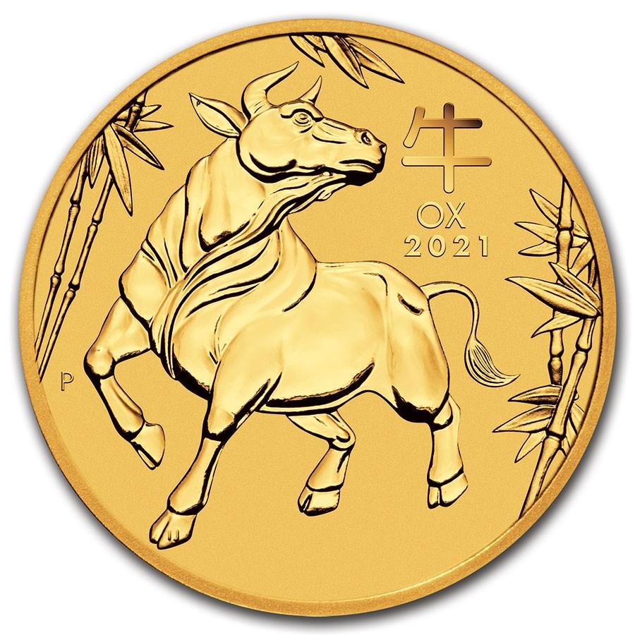 2021 Australia 1/20 oz Gold Lunar Ox BU (Series III)