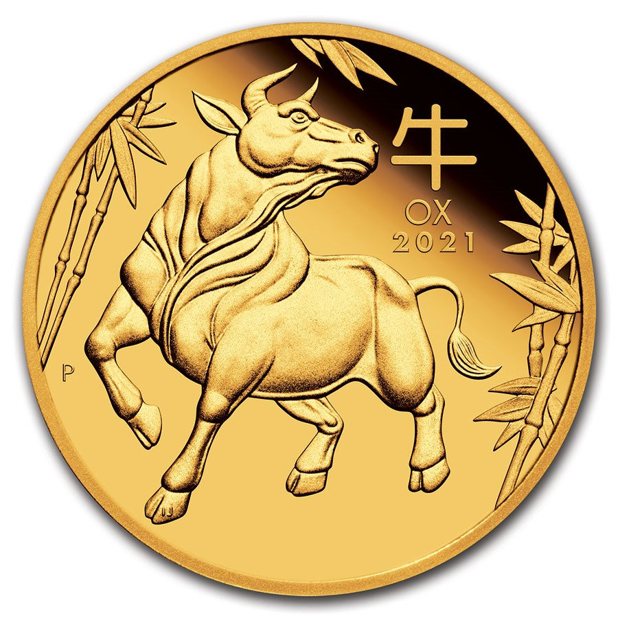 2021 Australia 1/4 oz Gold Lunar Ox Proof (w/Box & COA)