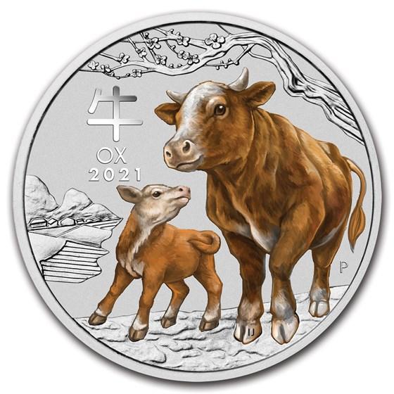 2021 Australia 1 kilo Silver Lunar Ox BU (SIII, Colorized)