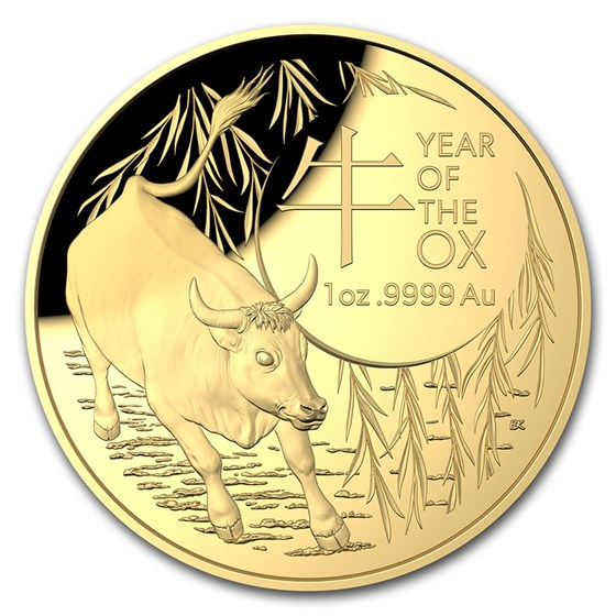 2021 Australia 1 oz Gold $100 Lunar Year of the Ox Domed Proof