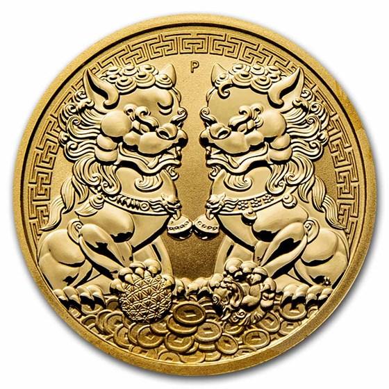2021 Australia 1 oz Gold Double Pixiu BU