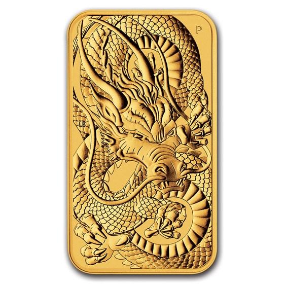 2021 Australia 1 oz Gold Dragon Rectangular Coin BU