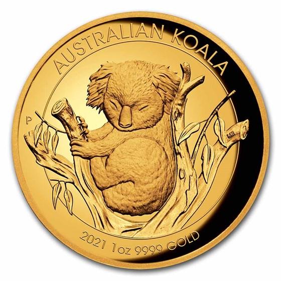 2021 Australia 1 oz Gold Koala Proof (High Relief, Box & COA)
