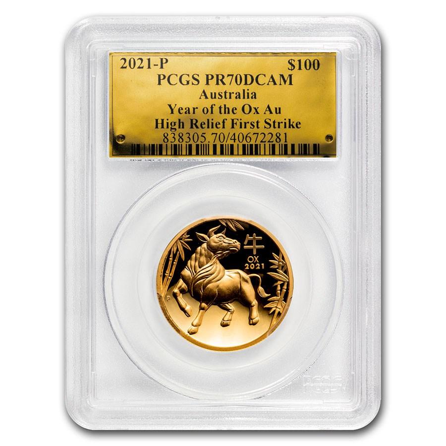 2021 Australia 1 oz Gold Lunar Ox HR PR-70 (FS, Gold Label)