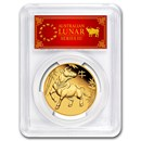 2021 Australia 1 oz Gold Lunar Ox MS-70 PCGS (FDI, Red Label)