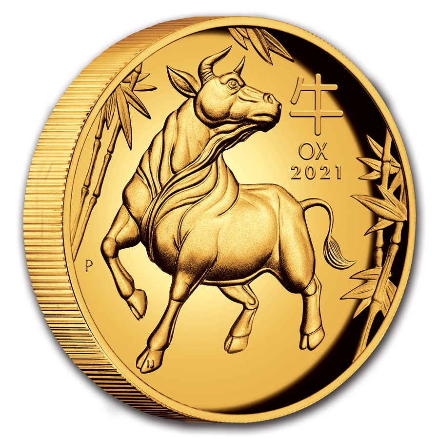 2021 Australia 1 oz Gold Lunar Ox Proof (HR, Box & COA)