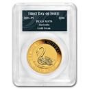 2021 Australia 1 oz Gold Swan MS-70 PCGS (FDI, Swan Label)