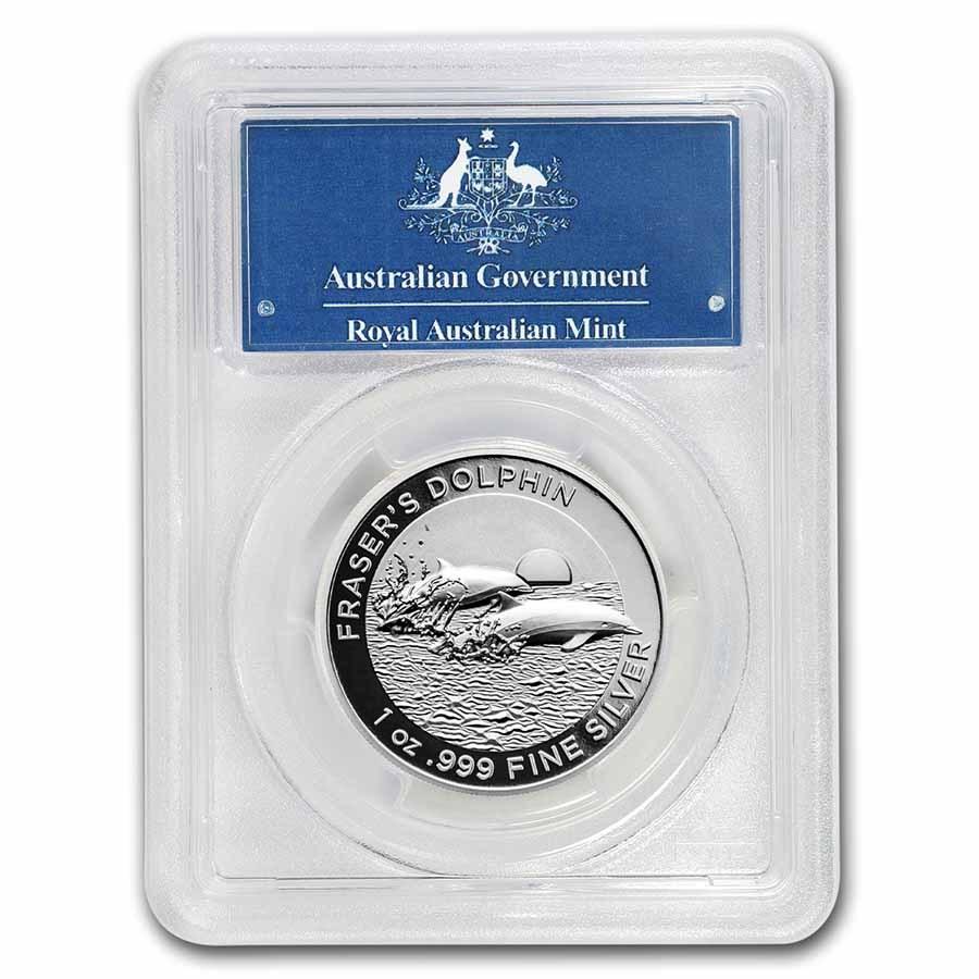2021 Australia 1 oz Silver Dolphin PR-70 PCGS (First Day, HR)