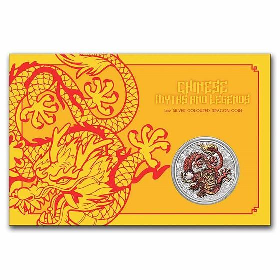 2021 Australia 1 oz Silver Dragon Colorized BU (Display Card)