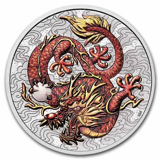 2021 Australia 1 oz Silver Dragon Colorized BU (in Capsule)