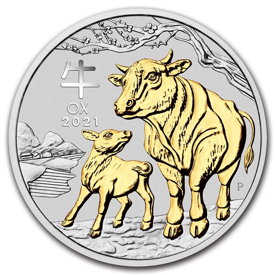 2021 Australia 1 oz Silver Lunar Ox (Gilded, w/Capsule & COA)