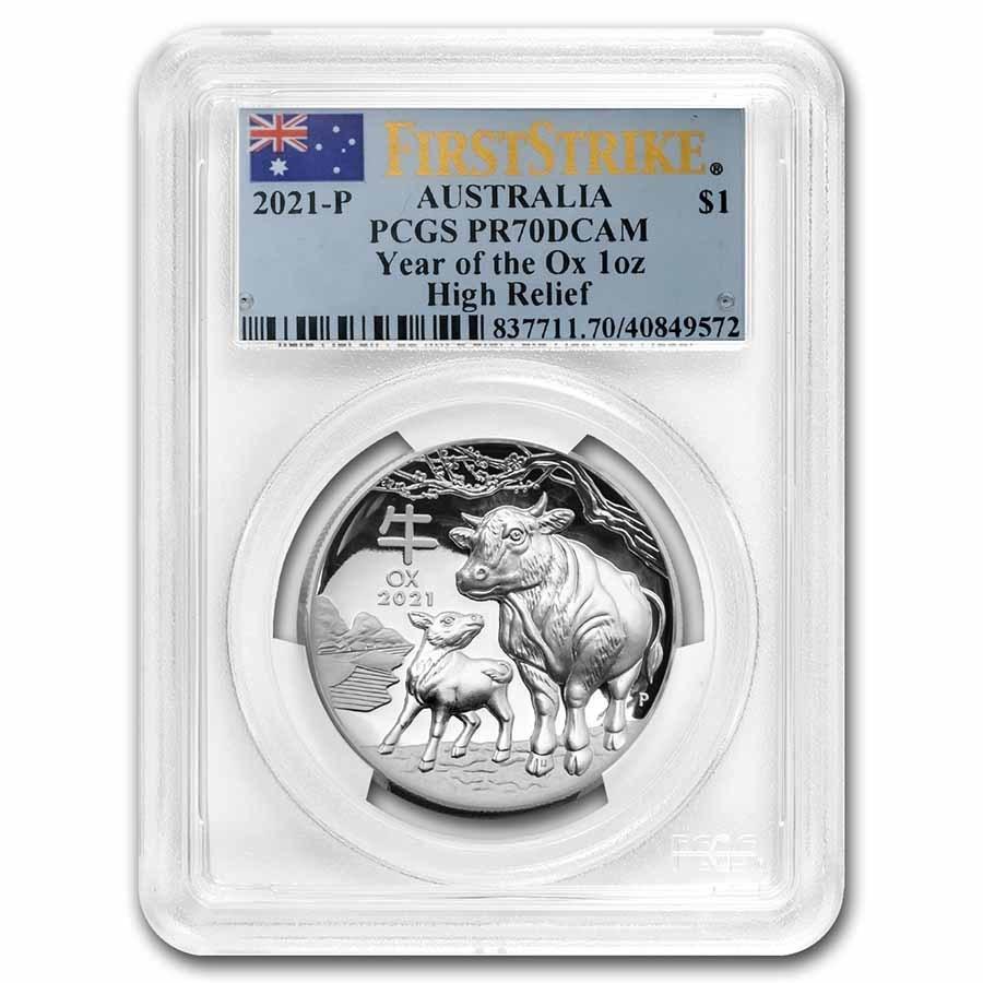 2021 Australia 1 oz Silver Lunar Ox High Relief PR-70 PCGS (FS)