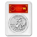 2021 Australia 1 oz Silver Lunar Ox MS-70 PCGS (FD, Red Label)