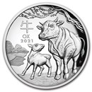2021 Australia 1 oz Silver Lunar Ox Proof (HR, Box & COA)