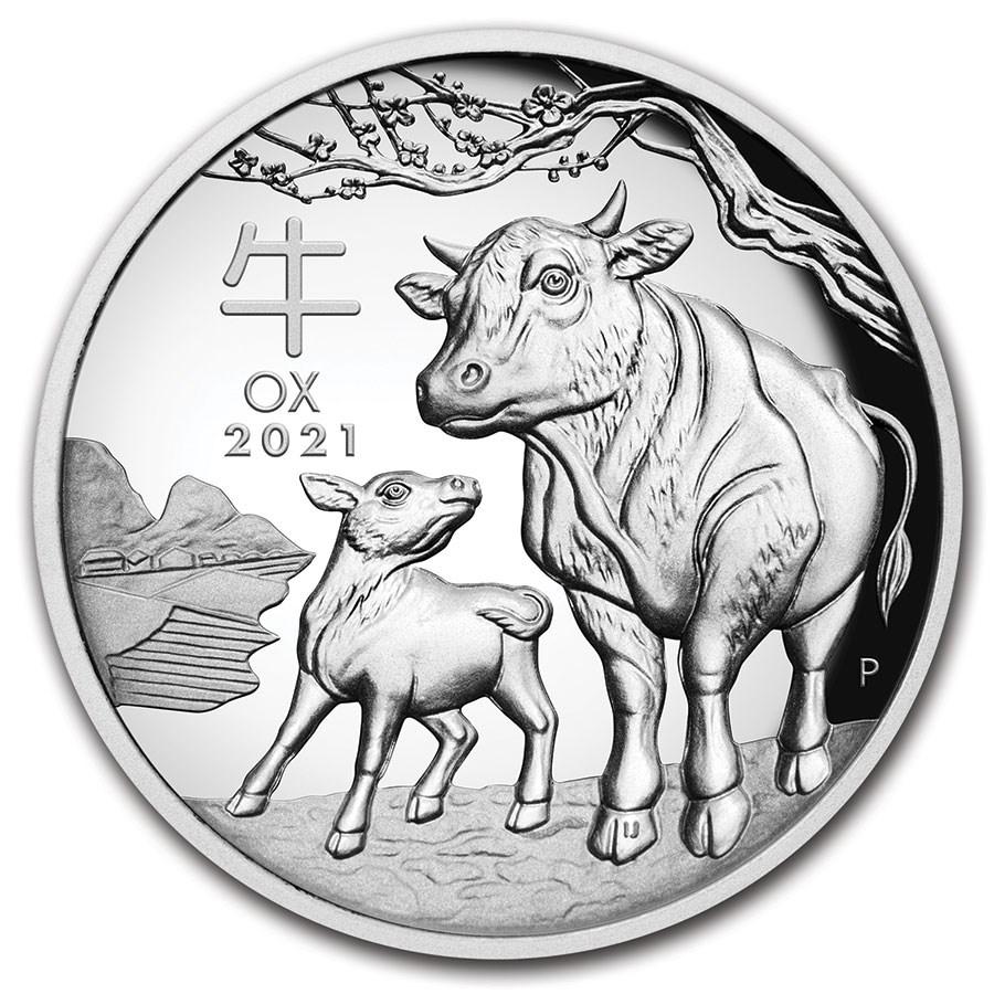 2021 Australia 1 oz Silver Lunar Ox Proof (HR, Box & COA)