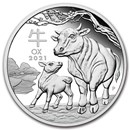 2021 Australia 1 oz Silver Lunar Ox Proof (w/Box & COA)