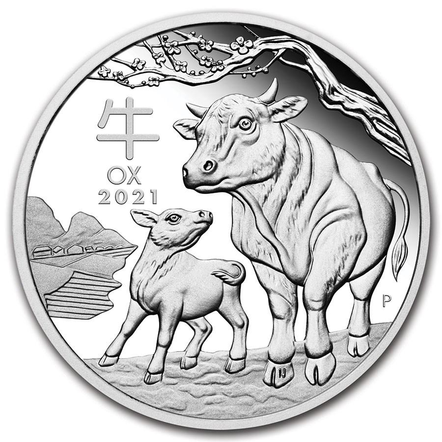 2021 Australia 1 oz Silver Lunar Ox Proof (w/Box & COA)
