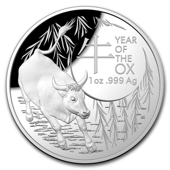 2021 Australia 1 oz Silver Lunar Year of the Ox Domed Proof