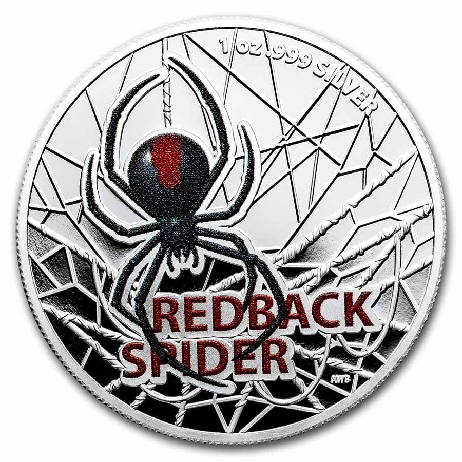 2021 Australia 1 oz Silver Redback Spider Colorized Proof