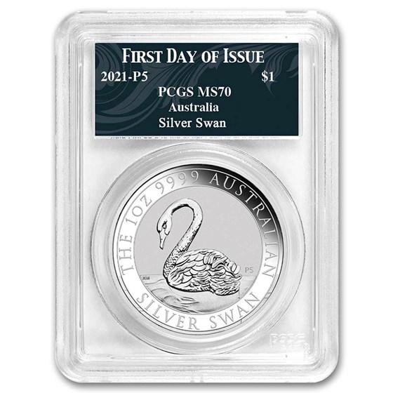 2021 Australia 1 oz Silver Swan MS-70 PCGS (FDI, Swan Label)