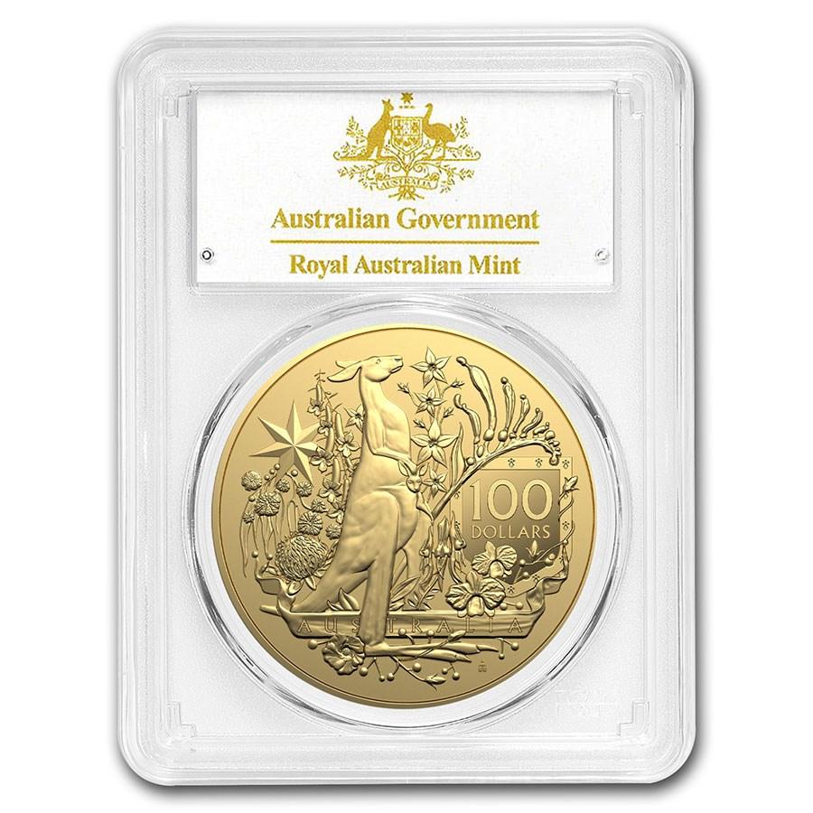 2021 Australia $100 1 oz Gold Coat of Arms MS-70 PCGS (FS)