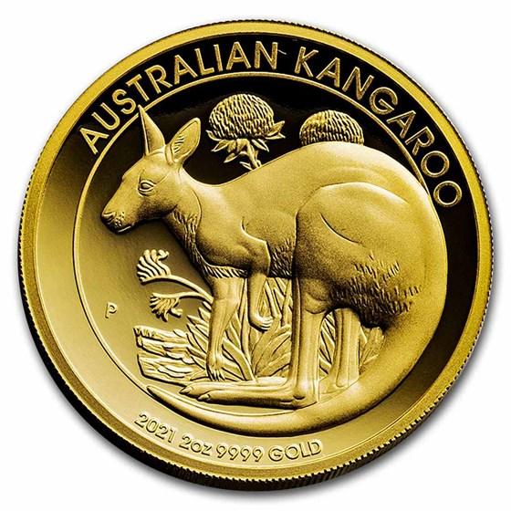 2021 Australia 2 oz Gold Kangaroo Proof (High Relief)