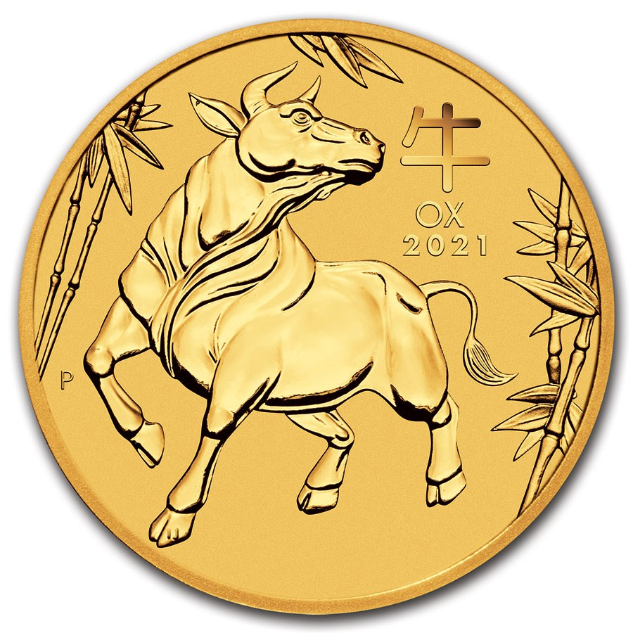 2021 Australia 2 oz Gold Lunar Ox BU (Series III) Coin For Sale