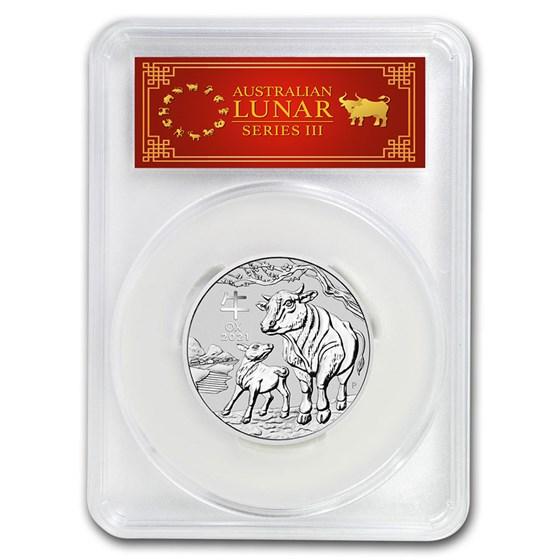 2021 Australia 2 oz Silver Lunar Ox MS-70 PCGS (FS, Red Label)