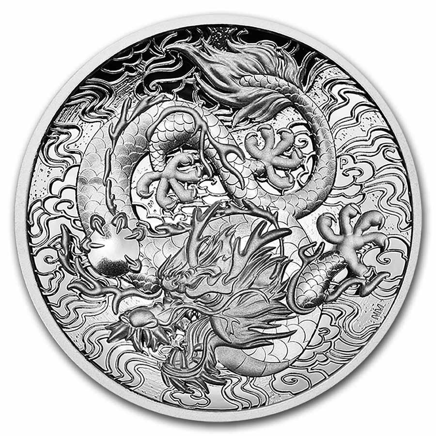 2021 Australia 2 oz Silver Proof High Relief Dragon