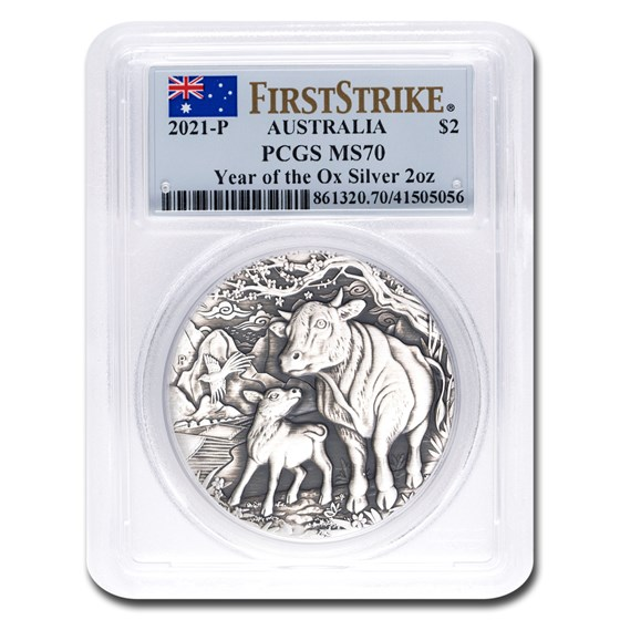 2021 Australia 2 oz Silver Year of the Ox Antique MS-70 PCGS (FS)