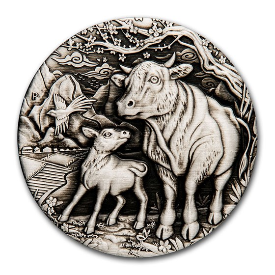 2021 Australia 2 oz Silver Year of the Ox Antiqued