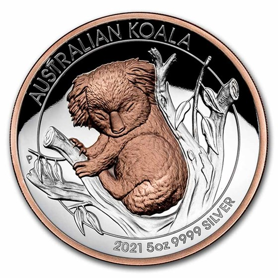 2021 Australia 5 oz Silver Gilded Koala Proof (High Relief)