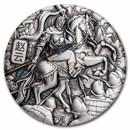 2021 Australia 5 oz Silver Zhao Yun Colorized (Antiqued)
