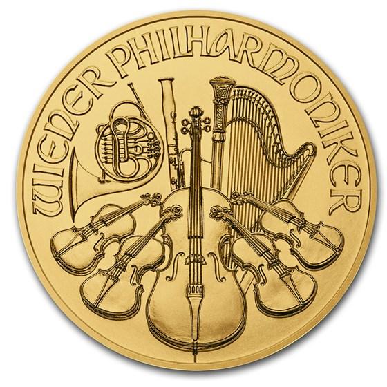 2021 Austria 1/25 oz Gold Philharmonic BU