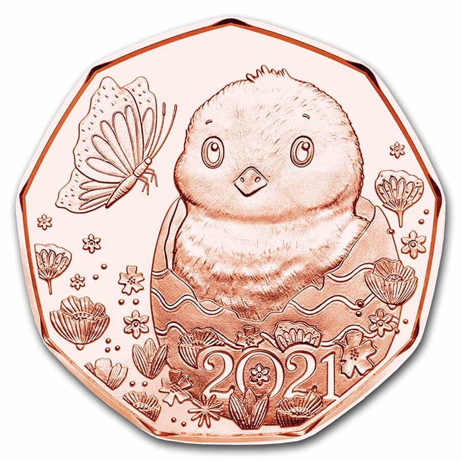 2021 Austria Copper €5 Easter Chick