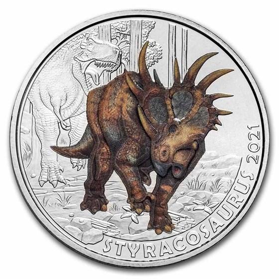 2021 Austria Cupro-Nickel €3 Color Supersaurs (Styracosaurus)